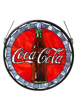 "21""W X 21""H Coca-Cola Bottle Cap Medallion Stained Glass Window"