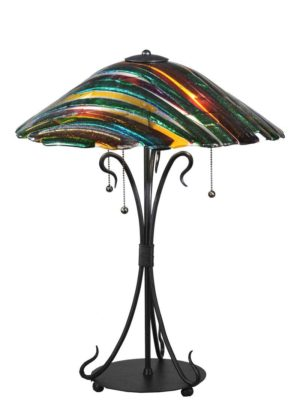 """24""""H Penna Di Pavone Fused Glass Table Lamp"""