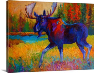 Majestic Moose by Marion Rose Art Print on Canvas