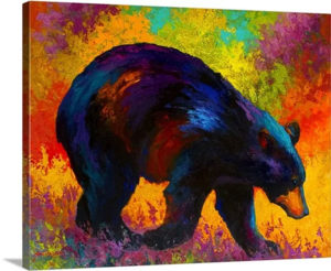 Roaming Black Bear by Marion Rose Painting Print on Canvas