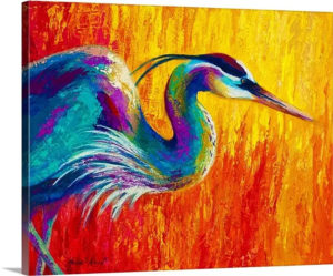 Stalking the Marsh by Marion Rose Painting Print on Canvas