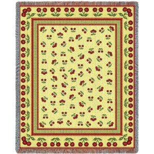 Cherries Jubilee | Cotton Throw Blanket | 54 x 70