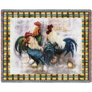 Rooster Trio   Afghan Blanket
