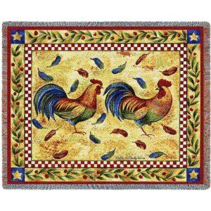 Two Roosters   Afghan Blanket   54 x 70