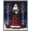 Kitty Santa   Christmas Seasonal Throw Blanket