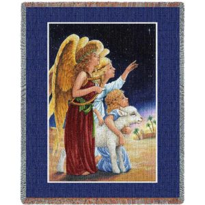 Angels At Night | Christmas Seasonal Throw Blanket