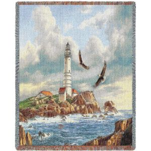 "Boston Lighthouse | Tapestry Blanket | 70"" x 54"""