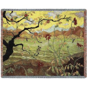 """Apple Tree With Red Fruit   Tapestry Blanket   70"""" x 54"""""""