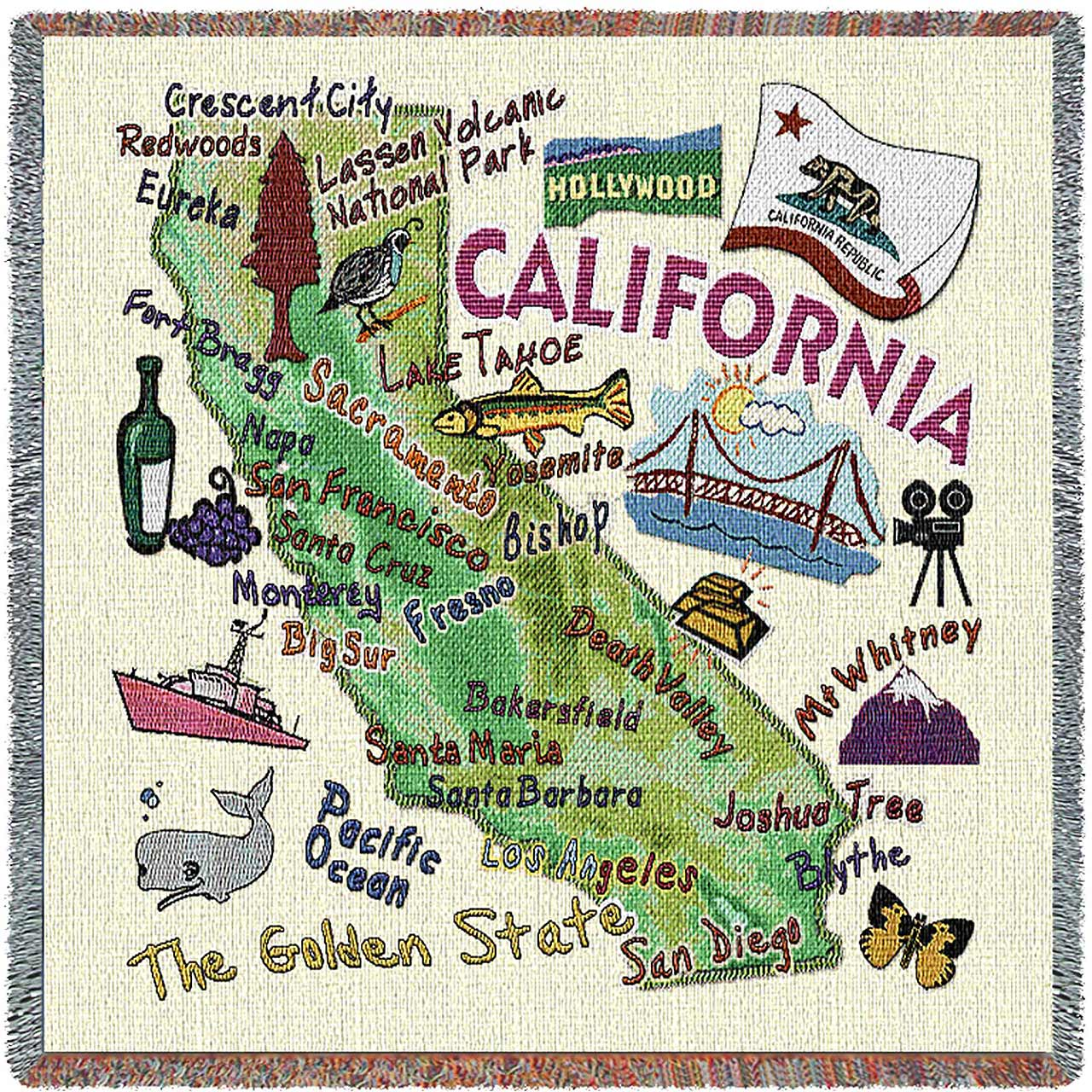 California State Map Blanket | Woven Tapestry Throw | 54 x 54