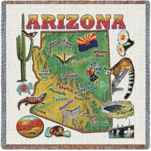 Arizona State Map Blanket   Woven Tapestry Throw   54 x 54