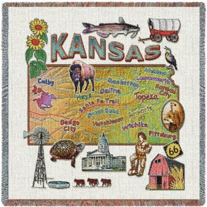 Kansas State Map Blanket | Woven Tapestry Throw | 54 x 54