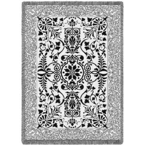 "Black & White Floral Scroll | Tapestry Blanket | 48"" x 69"""
