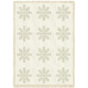 Flowers Mini Natural | Afghan Blanket | 48 x 35