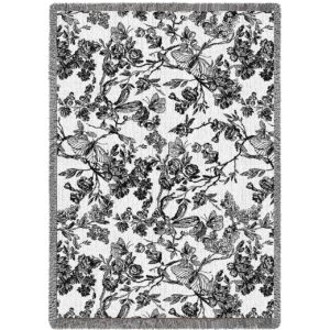 Amelias Garden Black | Throw Blanket | 69 x 48