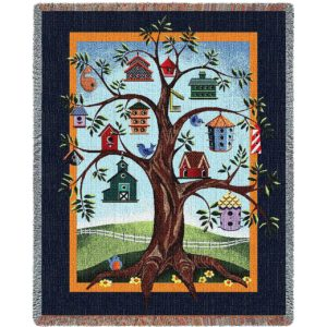 "Birdhouse Tree Blanket | 54"" x 70"""