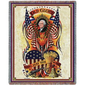 Charles Wysocki | Long May She Wave | Cotton Throw Blanket | 54 x 70