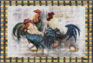 Rooster Trio | Tapestry Placemats | 12 x 17