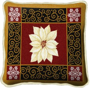 White Poinsettia | Christmas Throw Pillow | 17 x 17