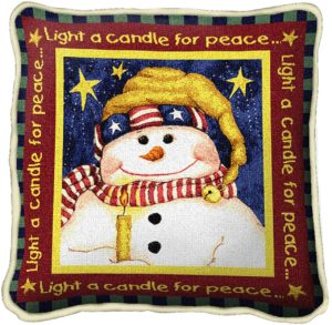 Light A Candle For Peace | Christmas Throw Pillow | 17 x 17