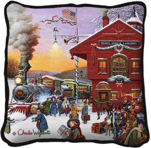 Whistle Stop Christmas | Charles Wysocki | Christmas Throw Pillow | 17 x 17