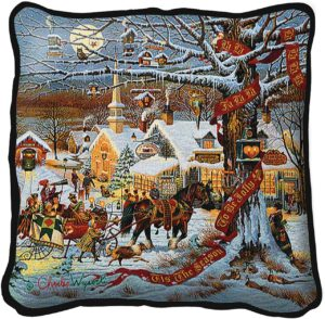Small Town Christmas | Charles Wysocki | Christmas Throw Pillow | 17 x 17