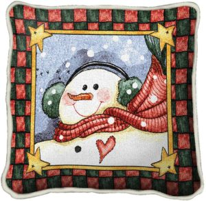 Dancing Snowman | Christmas Throw Pillow | 17 x 17