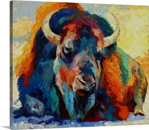 Winter Bison by Marion Rose Art Print on Canvas