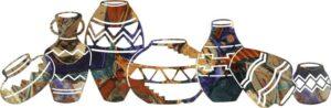 "7 Southwest Pots Horizontal Southwestern | 36"" | Southwestern Metal Wall Art"