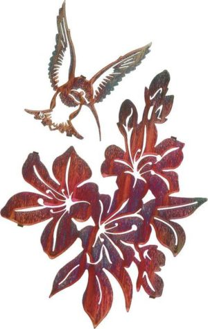 Steel Art | Azaleas w/Hummingbird set | 16"