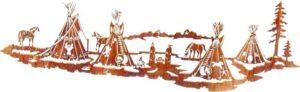 "Rustic Steel Art | 48"" | Nightfall (Indian Village) | Country Metallic Wall Art"
