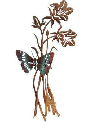"""Steel Art   20""""   Butterfly and Flowers   3D Metal Wall Art"""
