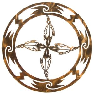 Circle of Feathers Rustic Metal Decor | 18"
