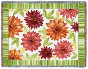 Dahlias Floral Tapestry Throw Blanket | 70 x 54