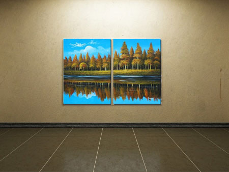 Create an artificial window with landscape art