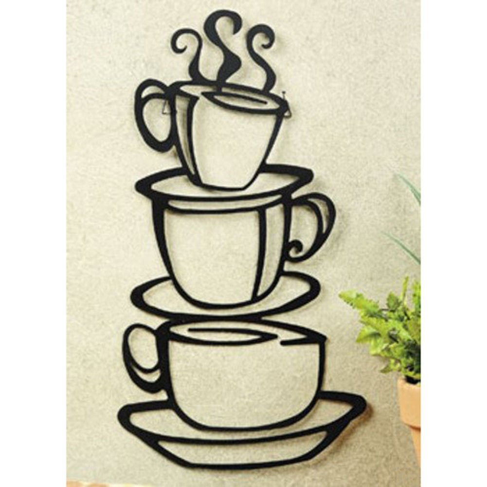 Stacked Coffee Cups Silhouette Metal Wall Art | 15""