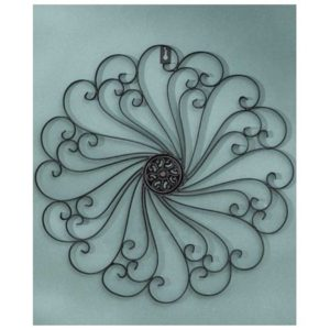 Black Iron Scroll Medallion Metal Wall Art | 16""