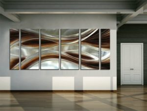 Yihui Arts Abstract Brown Metal Wall Art