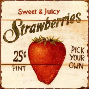 Sweet & Juicy Strawberries Vintage Tin Sign