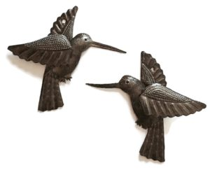 Hummingbirds | Haitian Metal Wall Art from Recycled Oil Drums | Set of 2