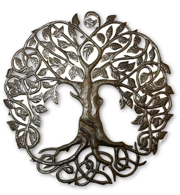 Family Roots Tree of Life | Haitian Fair Trade Metal Wall Art | 33""
