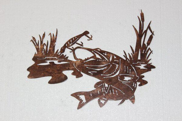 Bass Fish Chasing Treble Hook Metal Wall Art