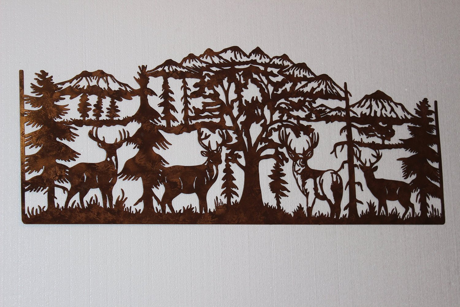 Deer & Mountain Scene Large Country Metal Wall Art