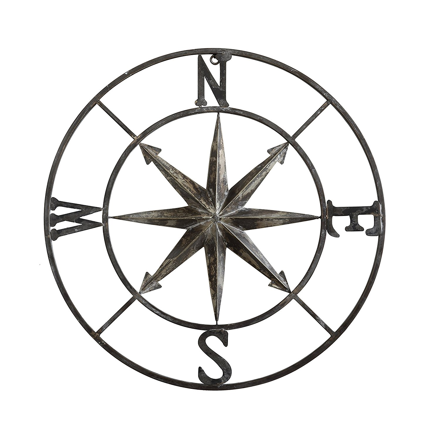 """Casual Country Metal Compass Wall Decor 