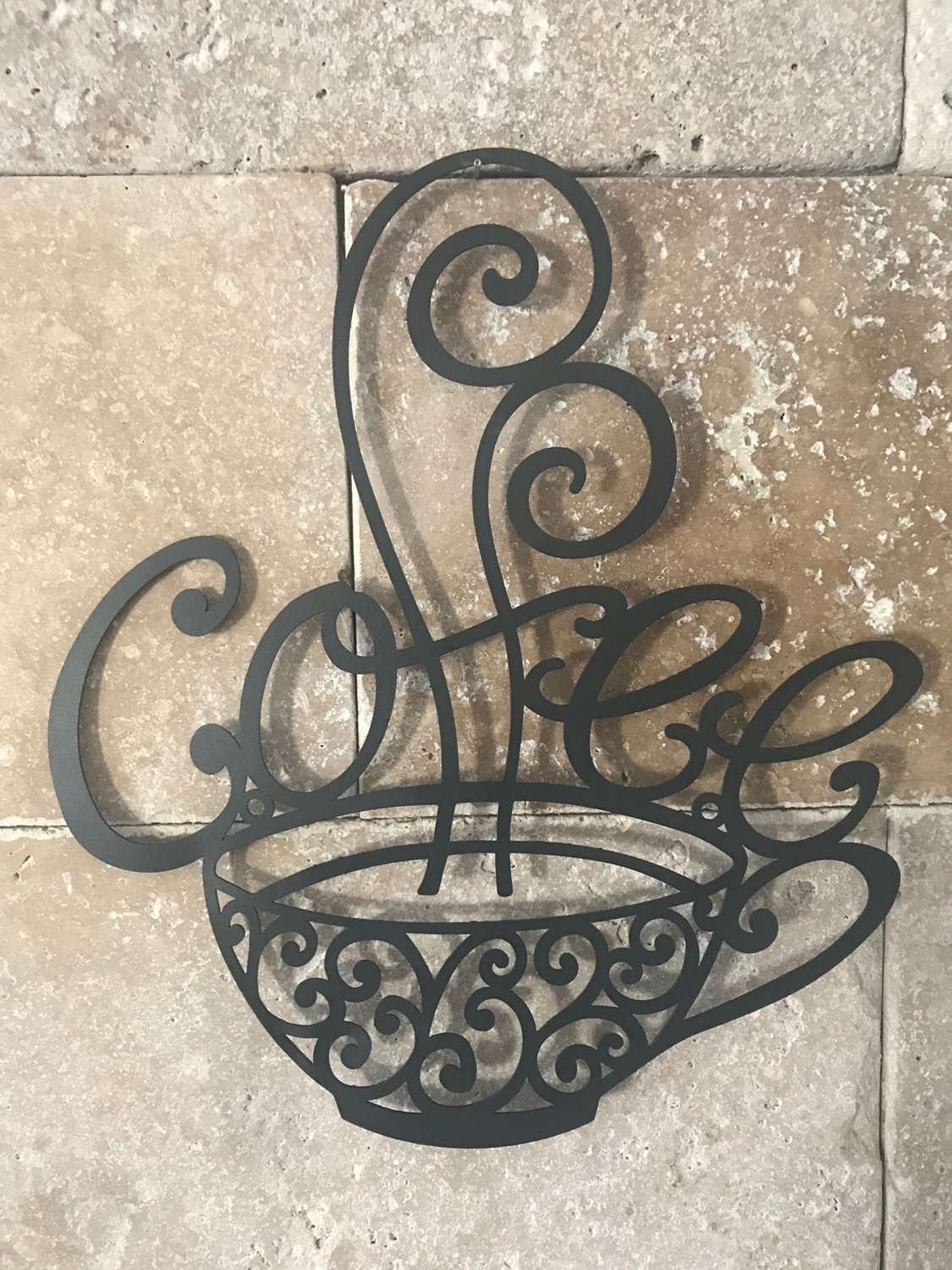 Coffee Decor for Coffee Lovers | Scrolled Silhouette Coffee Cup Mug Metal Wall Art