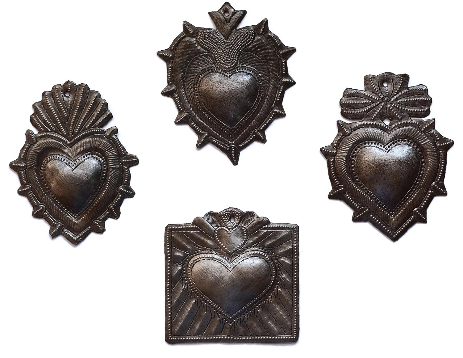 Milagro Hearts | Haitian Metal Wall Art from Recycled Oil Drums | Set of 4