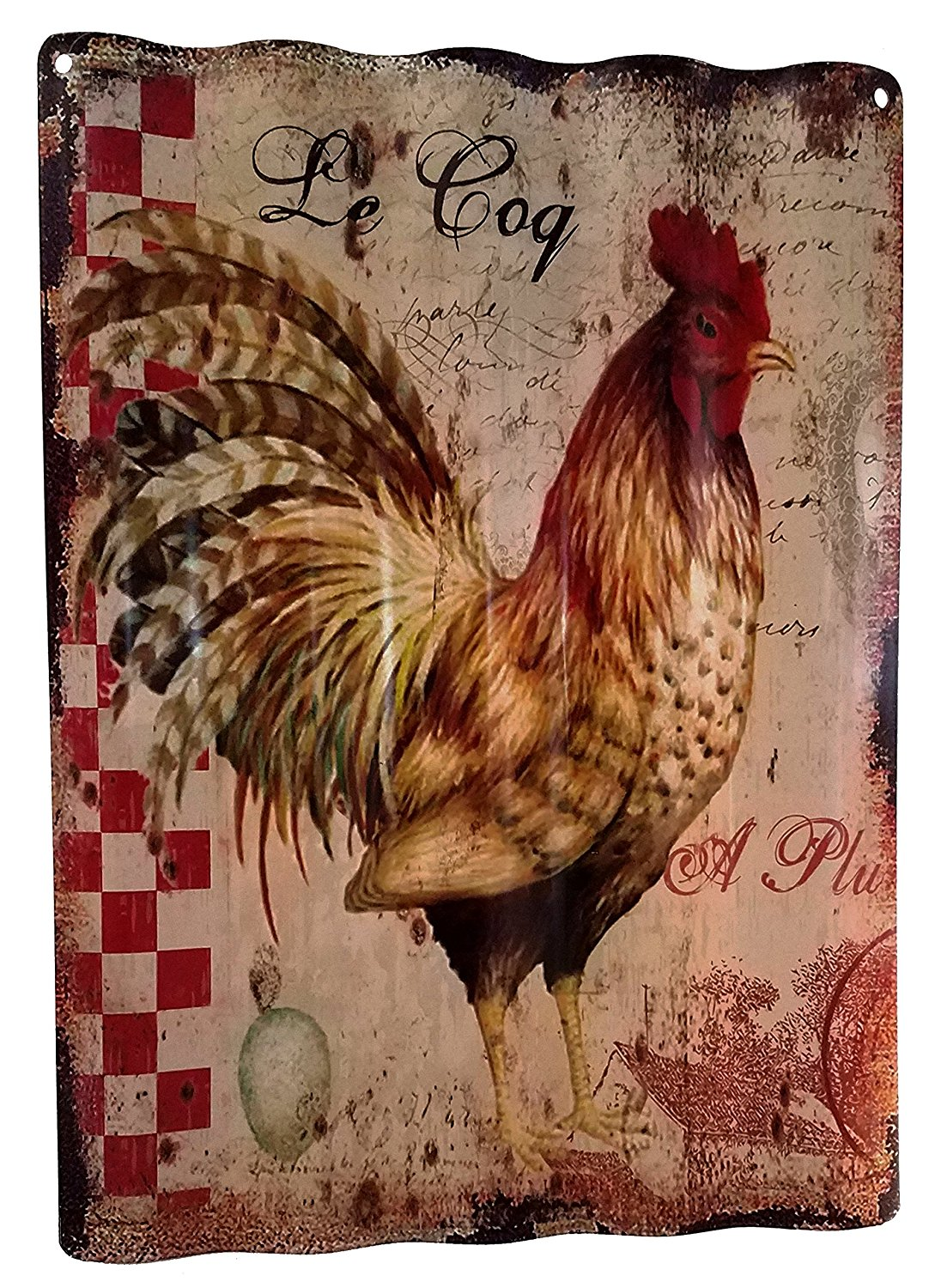 French Country Rooster Corrugated Metal Wall Art Shop