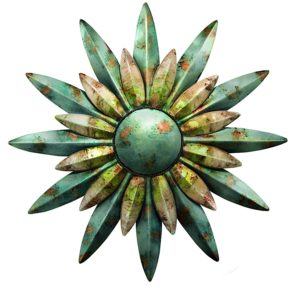"29"" Aqua Sunburst Flower Sun Metal Wall Art"