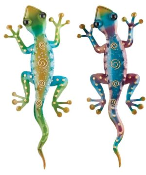 Set of 2 Rainbow Green & Purple Geckos Metal Wall Art