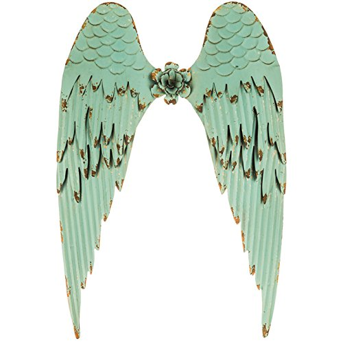 Large Turquoise Angel Wings | Distressed Metal Wall Art