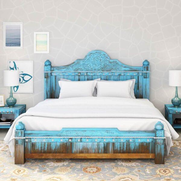 Sierra Living Concepts | Empire Blue Dawn Solid Mango Wood King Size Platform Bed